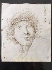 Original Old Master Copy Rembrandt Ink Drawing Circa 1809 w/ Report Cornell Univ