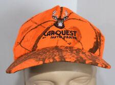VTG CarQuest Auto Parts Snapback Hat Orange Camo Deer Ball Cap Hunter Americap