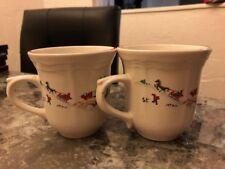 SET of 2 Farberware White Christmas Coffee Cup Mugs  Katherine Babanovsky