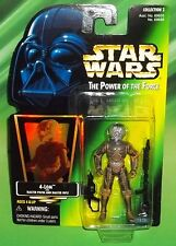 STAR WARS POTF GREEN HOLOGRAM CARD BOUNTY HUNTER 4-LOM FIGURE