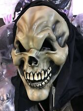 LATEX HOODED SKELETON MASK HALLOWEEN SKULL HORROR MASK w/ ATTACHED FABRIC HOOD