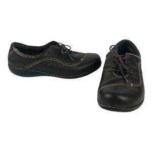 Clarks Bendables Brown Leather Walking Comfort Work Lace Up Size 10 Wide