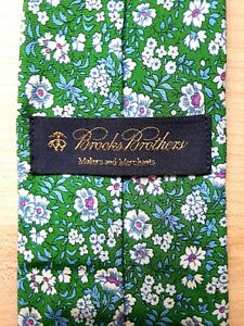 BROOKS BROTHERS Makers and Merchants Necktie Floral 100% Silk Green