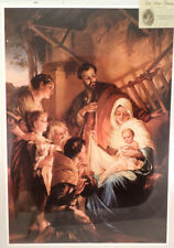 """Victorian Lithograph Print Picture """"Holy Family"""" Baby Jesus  16X23"""