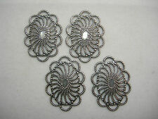 Antiqued Silver Plated Filigree Drops Earring Findings -4