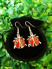 Rose Gold Plated Ladybird Beetle Bug Earrings With Velvet Gift Bag