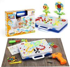 237pcs Creative Mosaic Building Blocks Peg Electric Drill Assemble Toy Gifts Uk