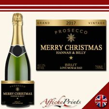 L80 Personalised Prosecco Black Gold Christmas Brut Bottle Label - Perfect Gift!