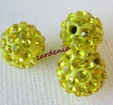 Yellow Polymer Clay Crystal Shamballa Beads Zardenia 3pcs Shambala Beads