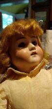 Antique German Bisque Head Doll Jointed Body Pansy IV Sleep Eyes Dark Blonde Wig
