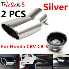 2Pcs Silver Exhaust Muffler Tail Pipe Tip Tailpipe for Honda CRV CR-V 2017 NEW