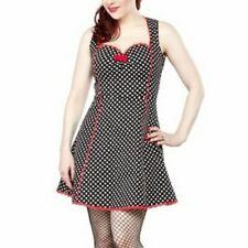 Sourpuss black white polka dot rockabilly retro pin-up couture Lucille dress sm