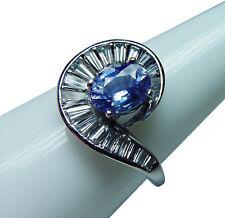 Art Deco Platinum Cornflower Sapphire Baguette Diamond Ring Estate