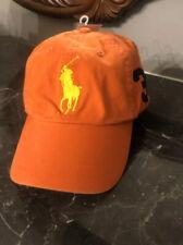 NWT POLO Ralph Lauren Big Pony & #3  Adjustable Baseball Hat - Basketball Orange