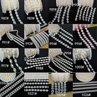 Pearl Crystal Gem Chain Rhineston Sew On Trims Wedding Dress Decoration Flatback