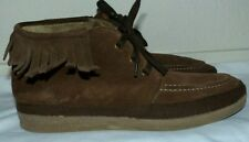 Women's Size 8 39 Natural World Eco Brand Brown Leather Suede Fringe Ankle Boots