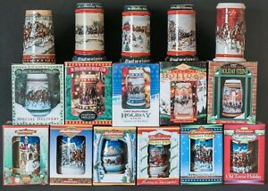 17 Vintage Budweiser Holiday Stein Collection Christmas Beer Mugs most In Boxes!