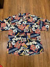 Hilo Hattie Men's Hawaiian Shirt 100% Silk Las Vegas Poker Aloha Casino Cards