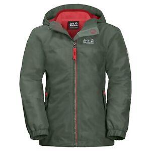 Jack Wolfskin Girls Iceland 3in1 Jacket thyme green Gr. 128 Doppeljacke Mädchen