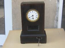 RARE ANTIQUE FRENCH 8 DAYS MAHOGANY TIME ONLY DESK MANTEL CLOCK-19th c-WORKS