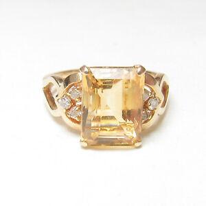 Estate 14K Yellow Gold 3.00 Ct Natural Sun Orange Citrine And Diamond Ring