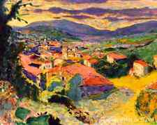 Landscape at Le Cannet by Pierre Bonnard - Art Town Red Roofs   8x10  Print 0677