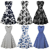 Women 50S 60S Rockabilly Vintage Swing Pinup Housewife Party Skater Dress S-4XL