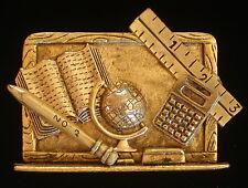 School Days Teacher Brooch Antiqued 24 Karat Gold Plate