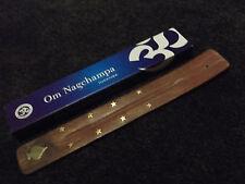 Om Nagchampa Incense Sticks 15g Box & Spade Brass Inlaid Wooden Ash Catcher