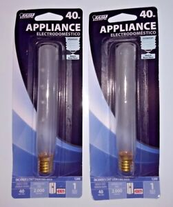 2 NEW FEIT ELECTRIC 40 Watt FROSTED T6.5 APPLIANCE SIGNAL & EXIT LIGHT BULBS
