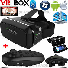 Realtà Virtuale 3d VR SCATOLA shinecon CUFFIE OCCHIALI PER IPHONE ANDROID + Remote UK
