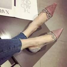 UK Womens Rhinestone Foral Pointed Toe Flat Heels Boat Shoes Dress Pumps Slip on