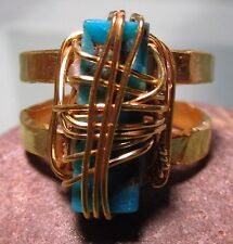 Gold plated brass wire wrap copper turquoise ring UK P-P½/US 8