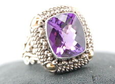 SUARTI BALI 18k YELLOW GOLD & STERLING SILVER AMETHYST COCKTAIL RING