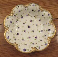 """Antique NYON porcelain bowl violets flowers AS IS 7"""" diameter/gold"""