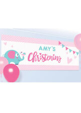 Pink On Your Christening Day Personalised Banner