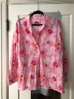LIZ CLAIBORNE LONG sleeve  Button Down Blouse Size M/L?  PINK FLORAL