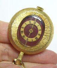 Vintage LUCERNE Red Enamel Face Necklace Watch