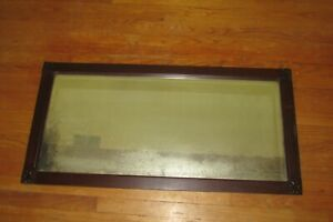 "Antique Mahogany Beveled Wall Mirror 43"" x 21""  #1360"