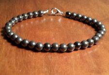 "Men's Handmade Hematite Root Chakra Healing Stone Bracelet Measures 8 3/4"" Long"
