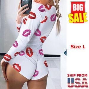 Sexy Women's  Bodycon V Neck Long Sleeve Jumpsuit Shorts Romper Bodysuit Leotard