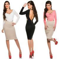 Pencil Dress Backless With Cowl Neck Open Back KouCla - White, Black & Salmon