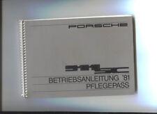 PORSCHE 911 SC / Betriebsanleitung '81 pflegepass