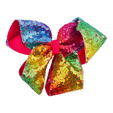 Lux Accessories Multicolored Rainbow Grosgrain Ribbon Bows Boutique Hair Clip