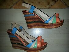 Sandali bronzo similpelle fibbia 38 usate tacco alto