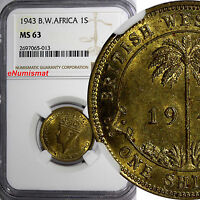 British West Africa George VI 1943 1 Shilling NGC MS63  KM# 23