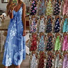 Women's Summer Beach Casual Boho Long Maxi Dresses w/Floral Print