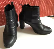 Ladies CLARKS Ankle Boots Black Leather High Heel Elasticated UK 6.5 EU 41