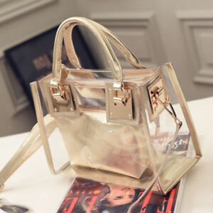 Womens Diagonal package Transparent Handbag Beach Bag Clear Jelly crystal  Bags