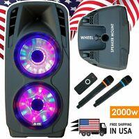 "EMB 4000 Watts Dual 12"" Rechargeable PA DJ Speaker / Bluetooth, Light, Echo"